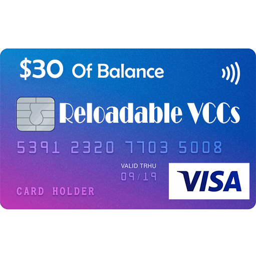 VISA Reloadable Virtual Credit Cards For Online Payment _ 30 usd